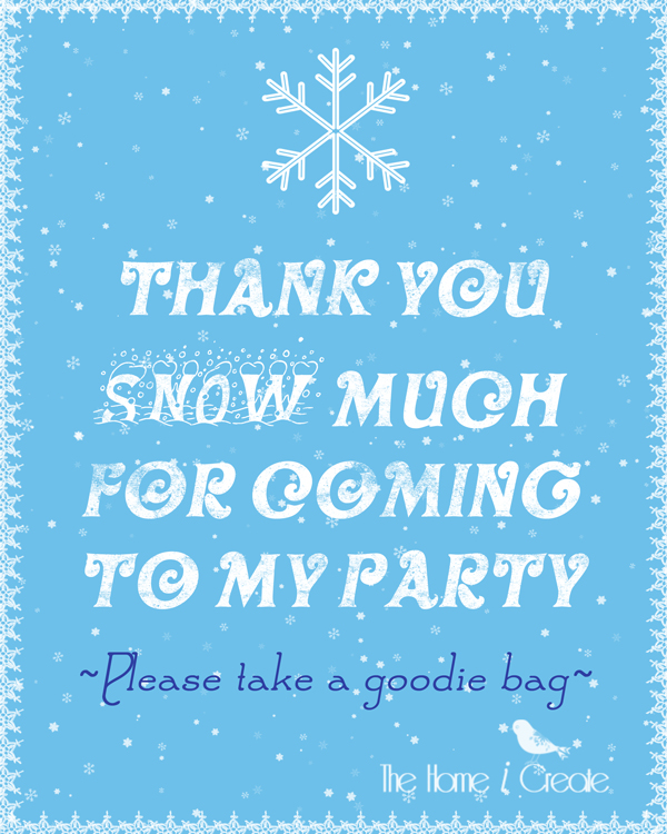 DIY Frozen Birthday Party Favor Sign thehomeicreate.com
