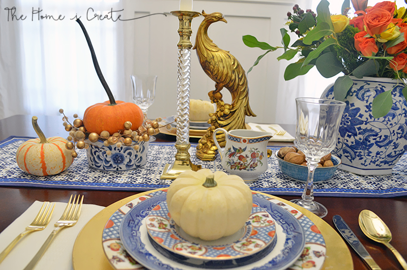 Blue & White Thanksgiving Tablescape