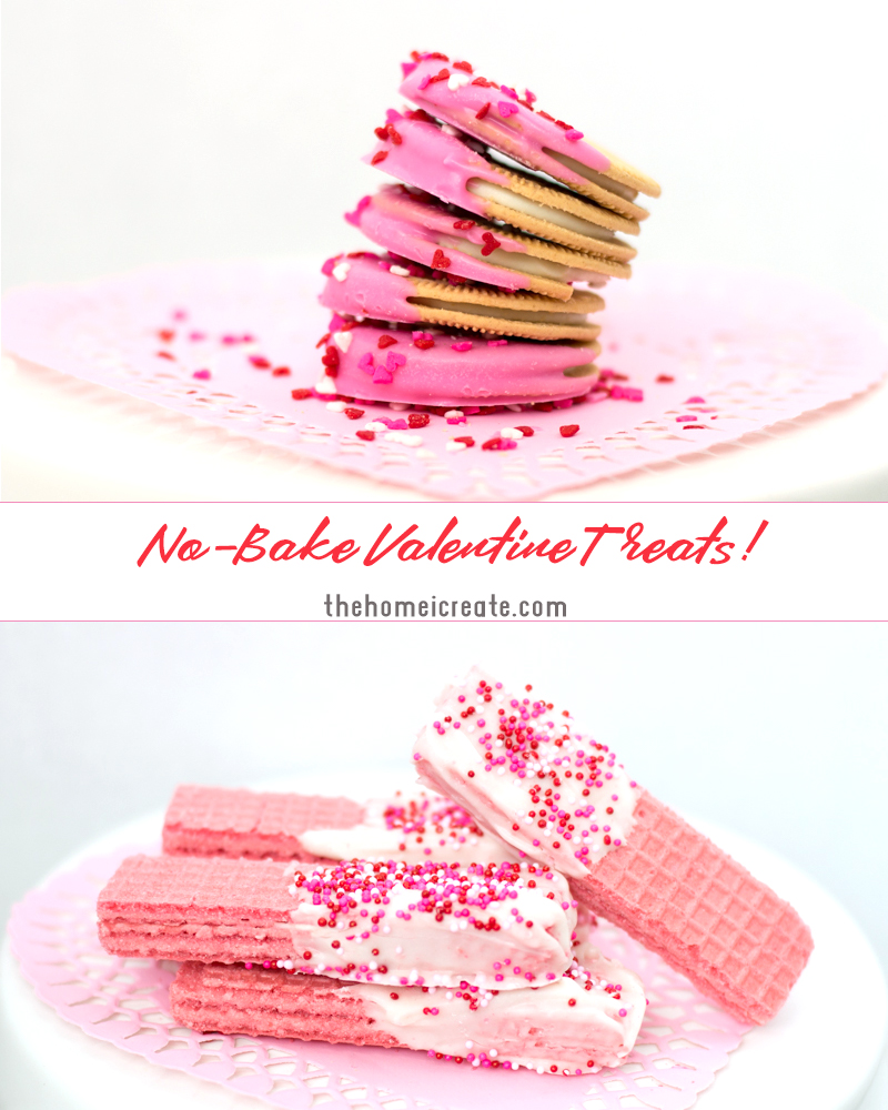 Easy to make no bake Valentine's Day treats with Oreo's and wafer cookies. Perfect to make with kids.