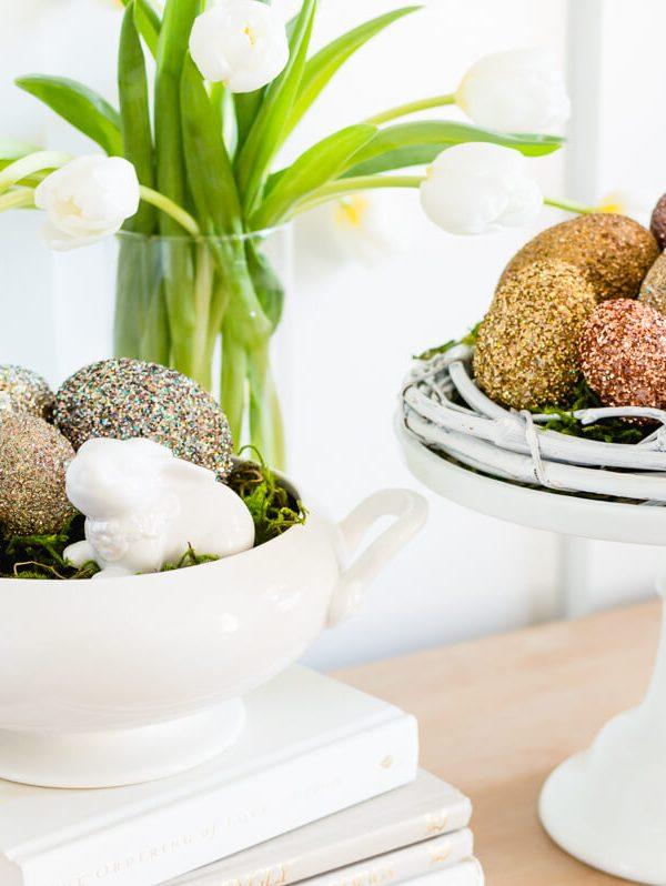 Pottery Barn Inspired Glitter Easter Eggs