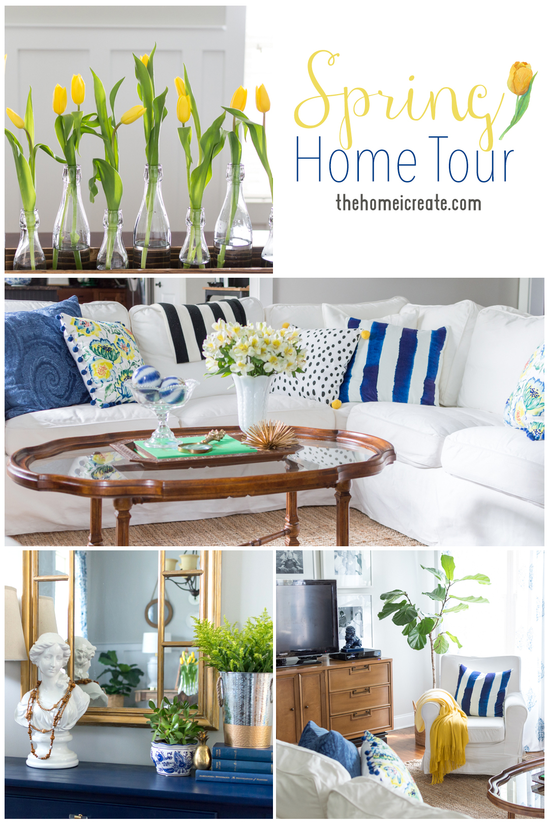 Spring Home Tour | white couch | blue and white