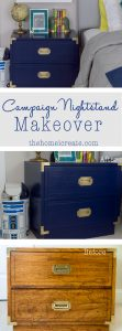 Painted Campaign Nightstand Makeover | Tips and tricks on how to remove and polish campaign hardware | thehomeicreate.com