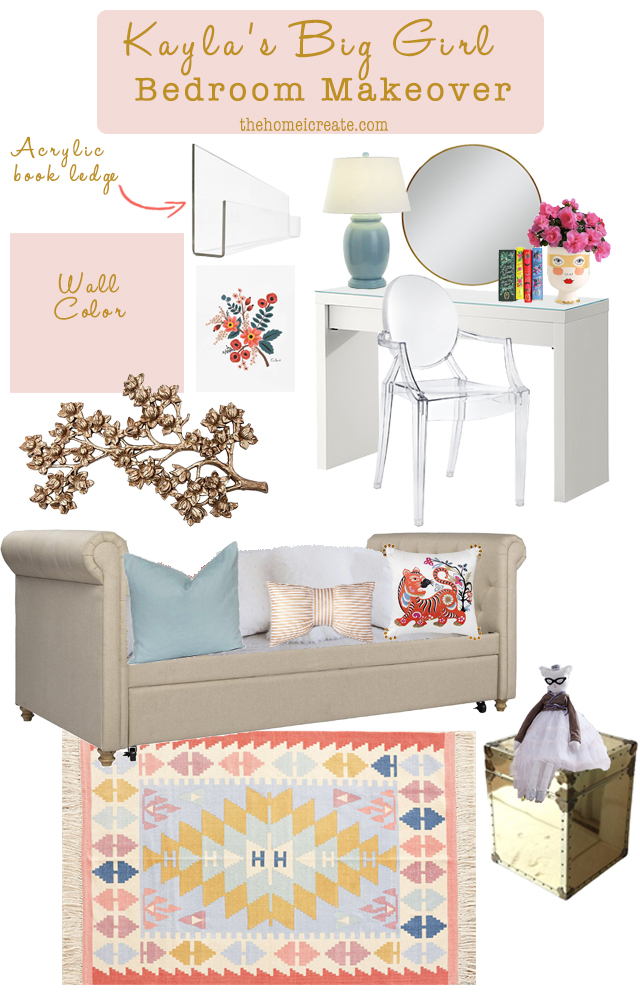 Big girl bedroom makeover inspiration. Blush paint, tufted daybed, with gold accents. See more at thehomeicreate.com!