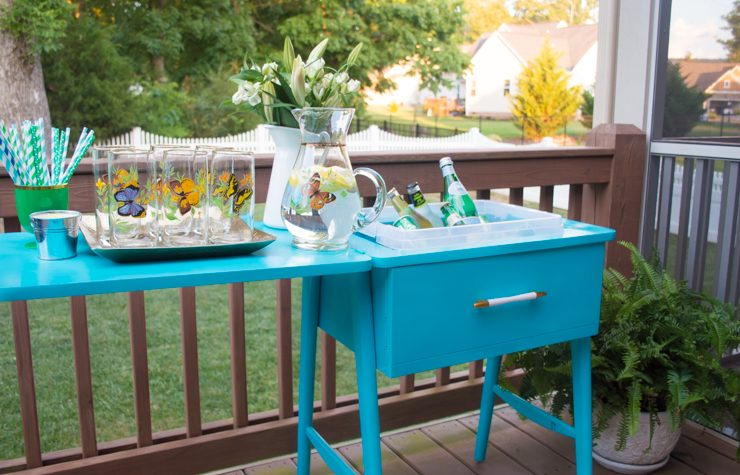 Sewing Table Turned Drink Station