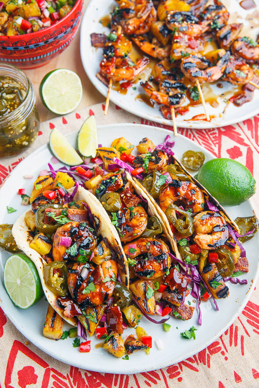 Teriyaki Grilled Shrimp and Pineapple Salsa Tacos with Candided Jalapeno and Bacon 800 0580