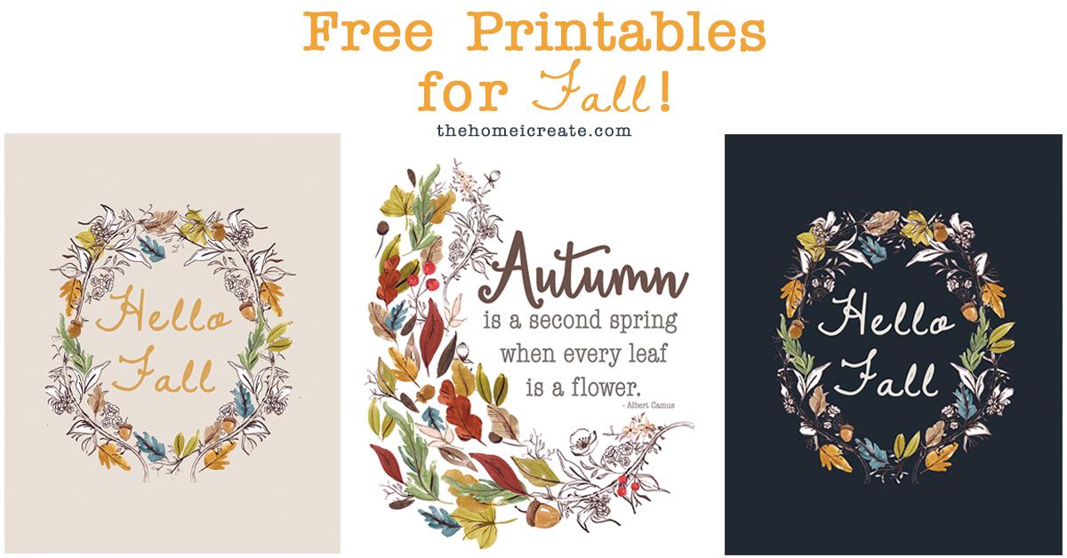 3 Free Printables for Fall – Just print & hang!