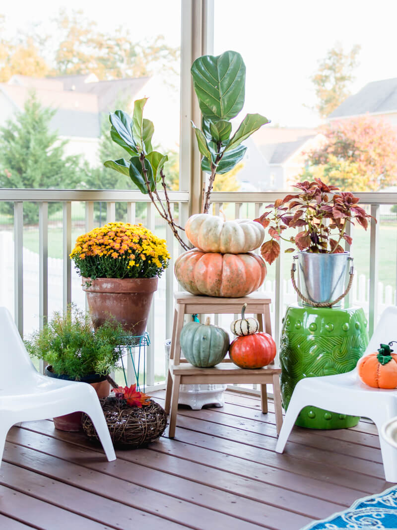 Wonderful fall porch decorating ideas with pumpkins and mums! | thehomeicreate.com