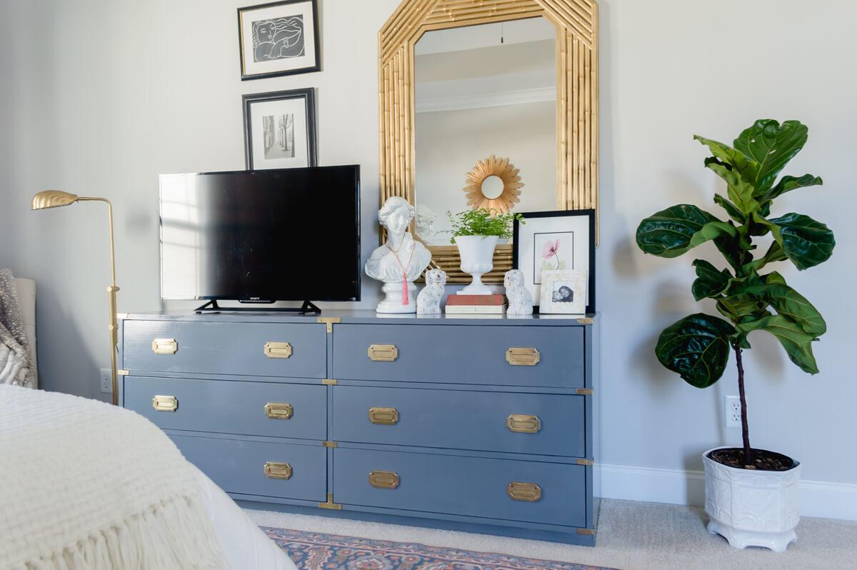 Campaign dresser   DIY furniture   Furniture Makeover   Bamboo Mirror