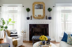 Gold Bamboo Mirror | Living Room |Topiary | While Slipcover | thehomeicreate.com