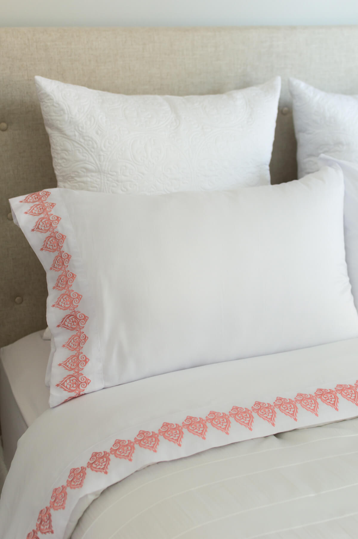 Bed Linens | White Bedding | Neutral Bedding | Embroidery | thehomeicreate.com