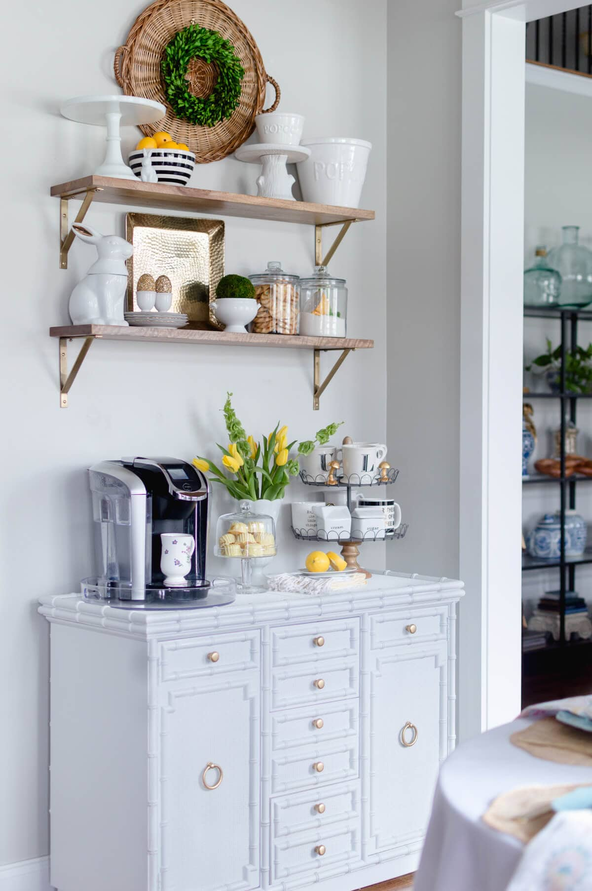 Coffee bar decor updated for spring the home i create for Coffee bar design ideas