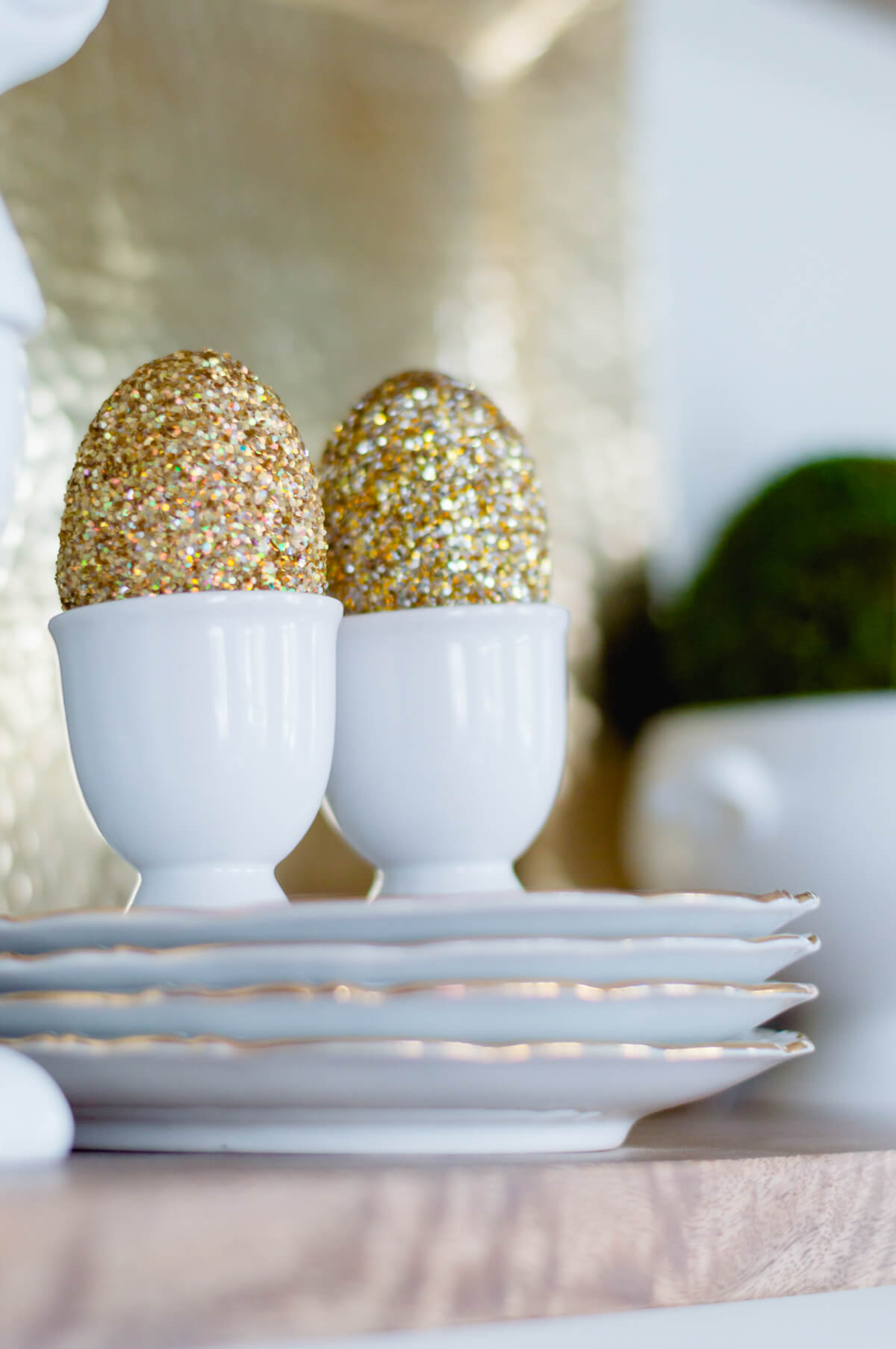 Pottery Barn Inspired Glitter Eggs