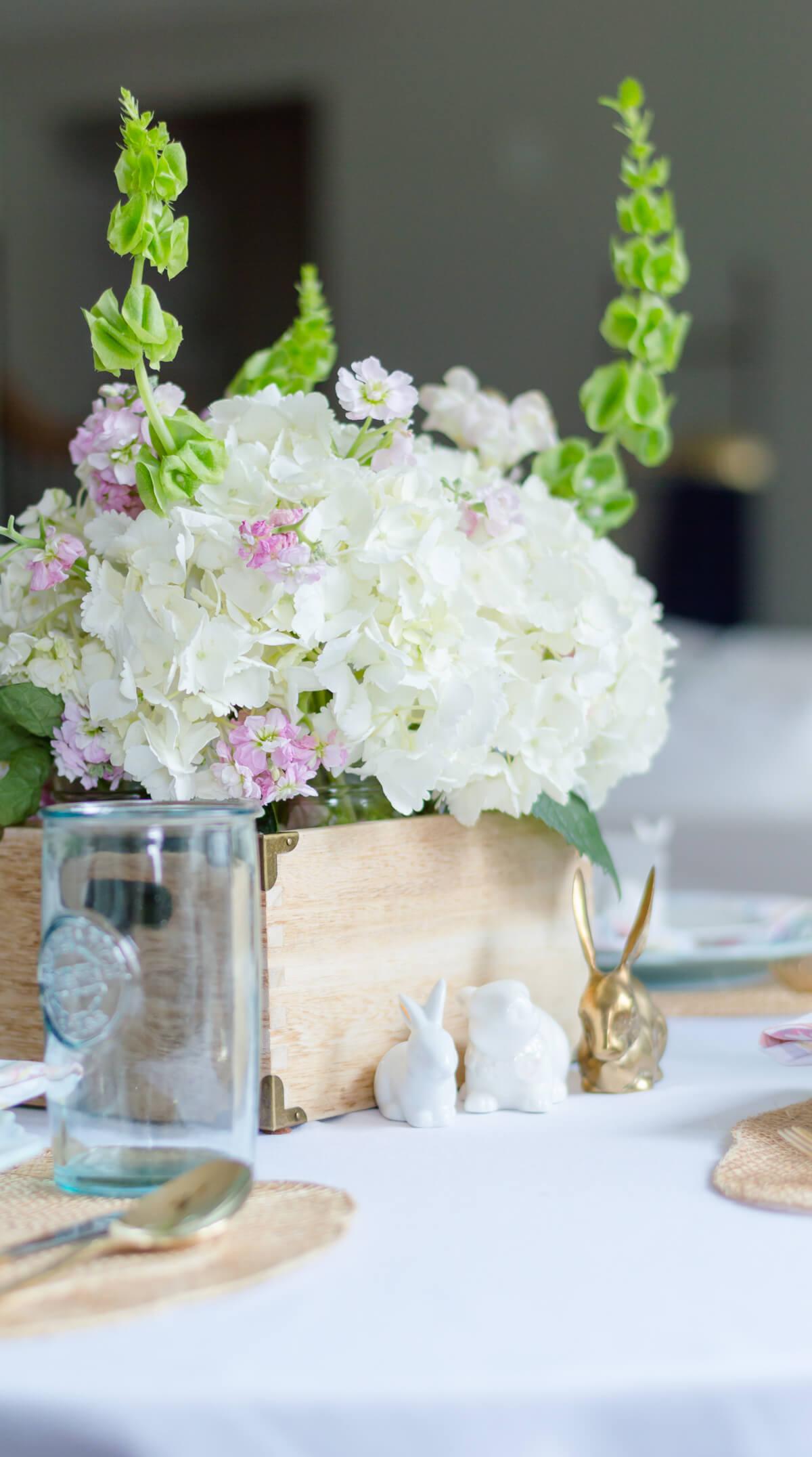 Hydrangea spring flower arrangement centerpiece
