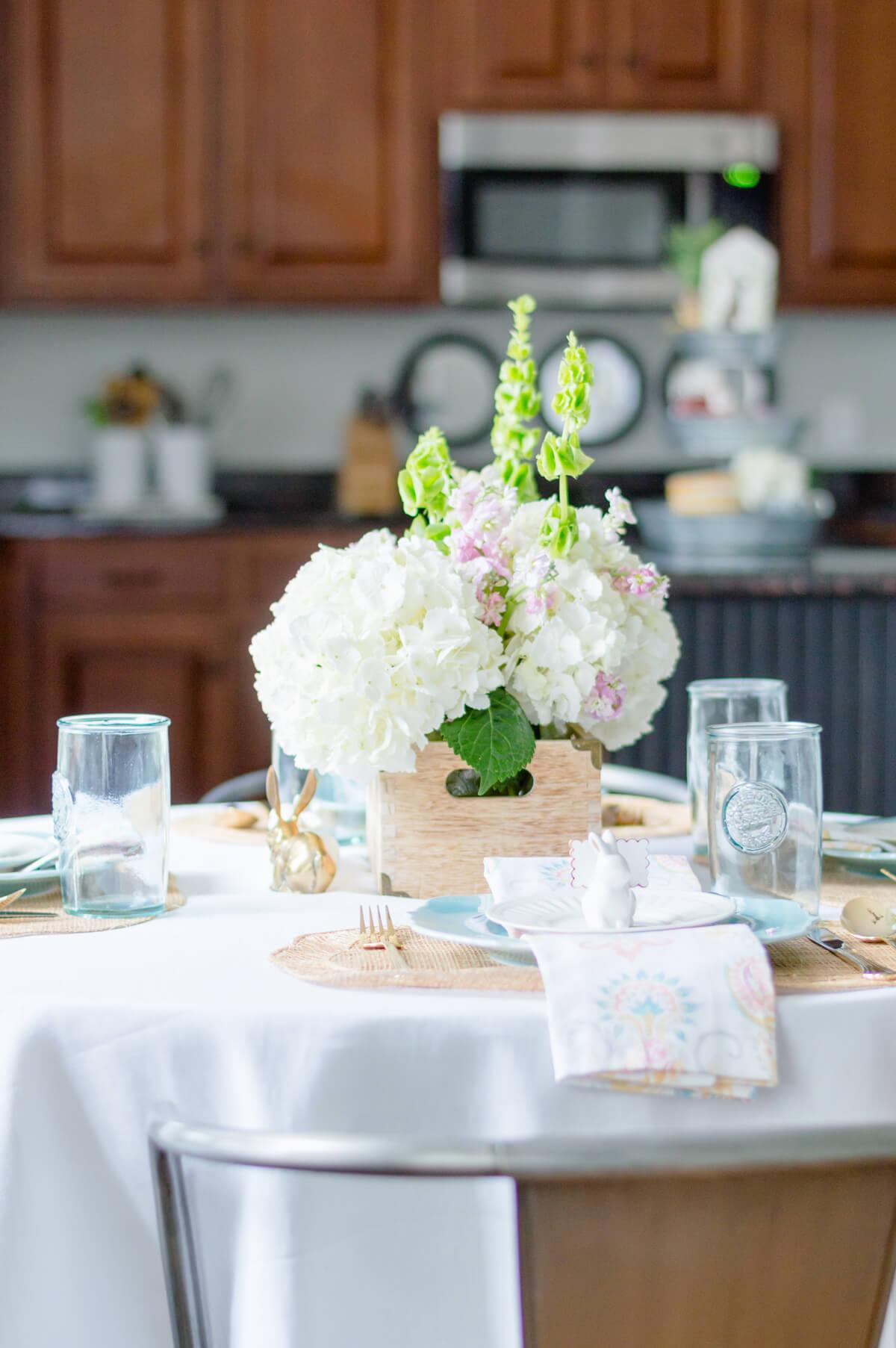 Spring flower centerpiece arrangement