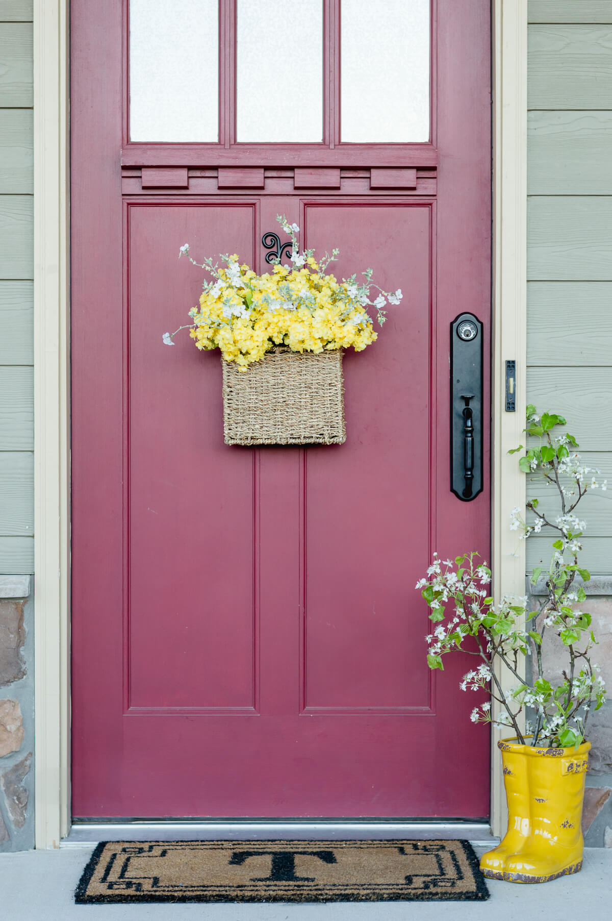 This Spring Flower Door Basket Really Brightens Up My Front Door. Plus  Given The Style Of My Front Door, A Basket Is A Great Alternative To A  Traditional ...