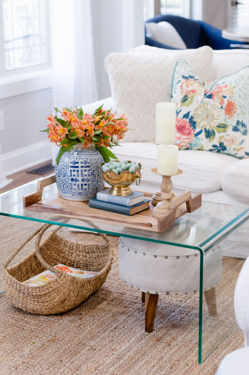 Spring Living Room Refresh | Lucite coffee table | The Home I Create