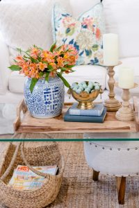 Spring Living Room Refresh || Lucite table with ginger jar || The Home I Create