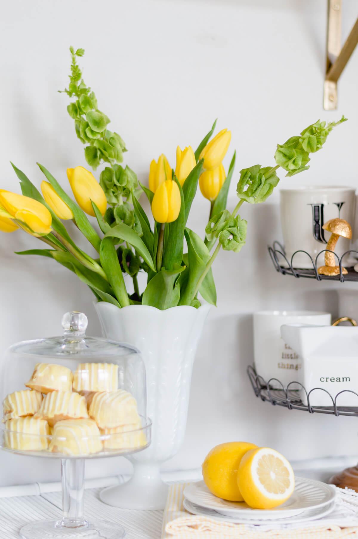 Yellow Tulips | Bells of Ireland | spring flowers | thehomeicreate.com