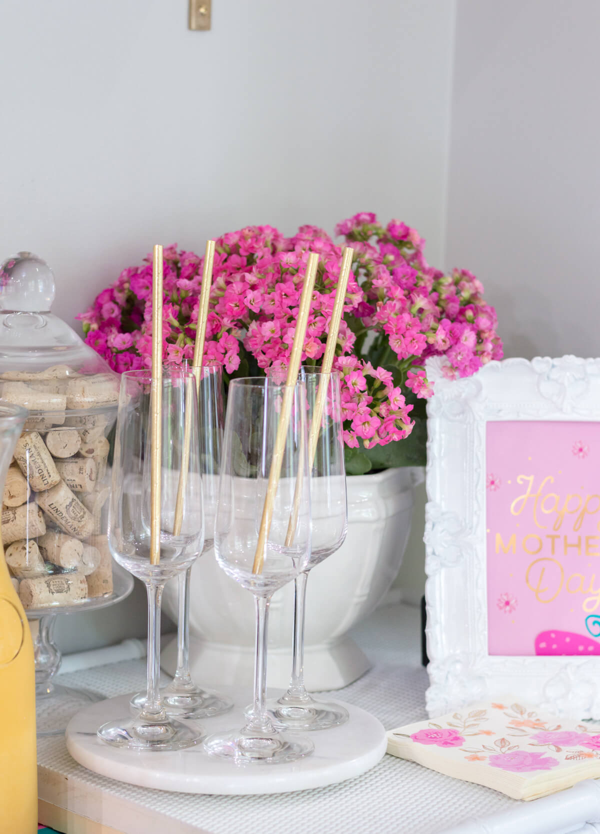 Pink and Gold Simple Mother's Day brunch on a budget with a mimosa bar. #MakeHerMothersDay #Ad
