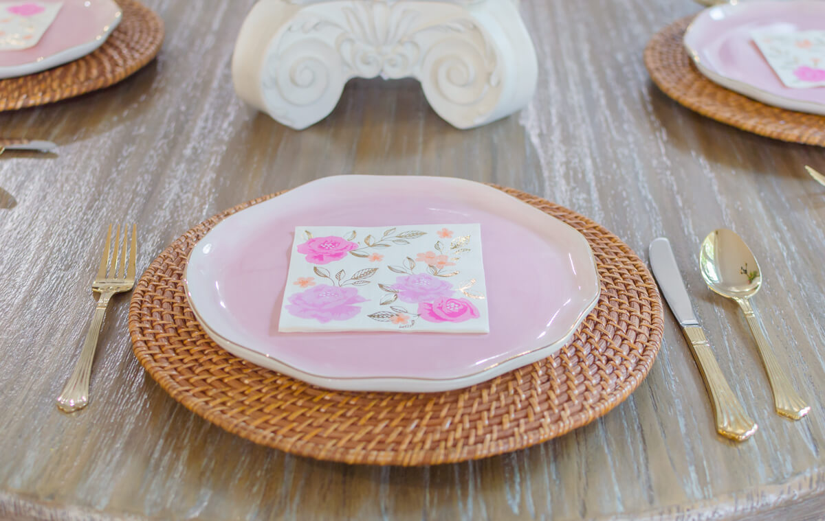 Pink and Gold Farmhouse Mother's Day brunch table on a budget. #MakeHerMothersDay #Ad