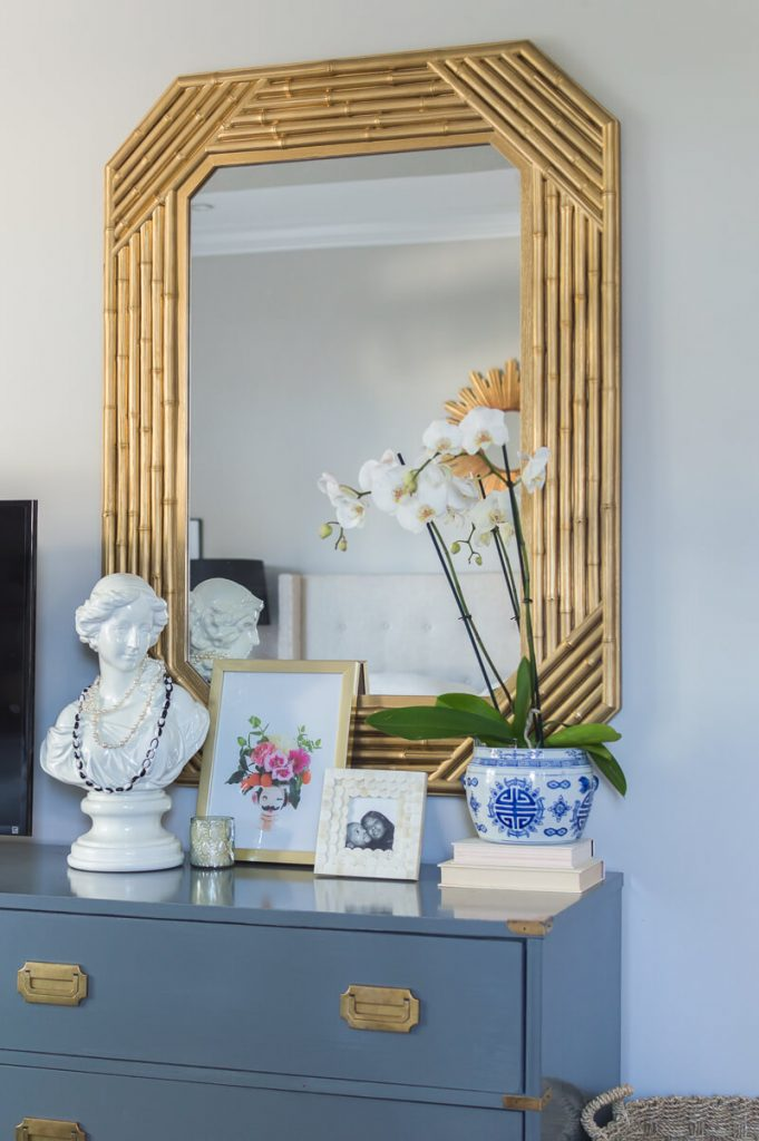 Spring Bedroom Refresh -- vintage gold bamboo mirror -- The Home I Create
