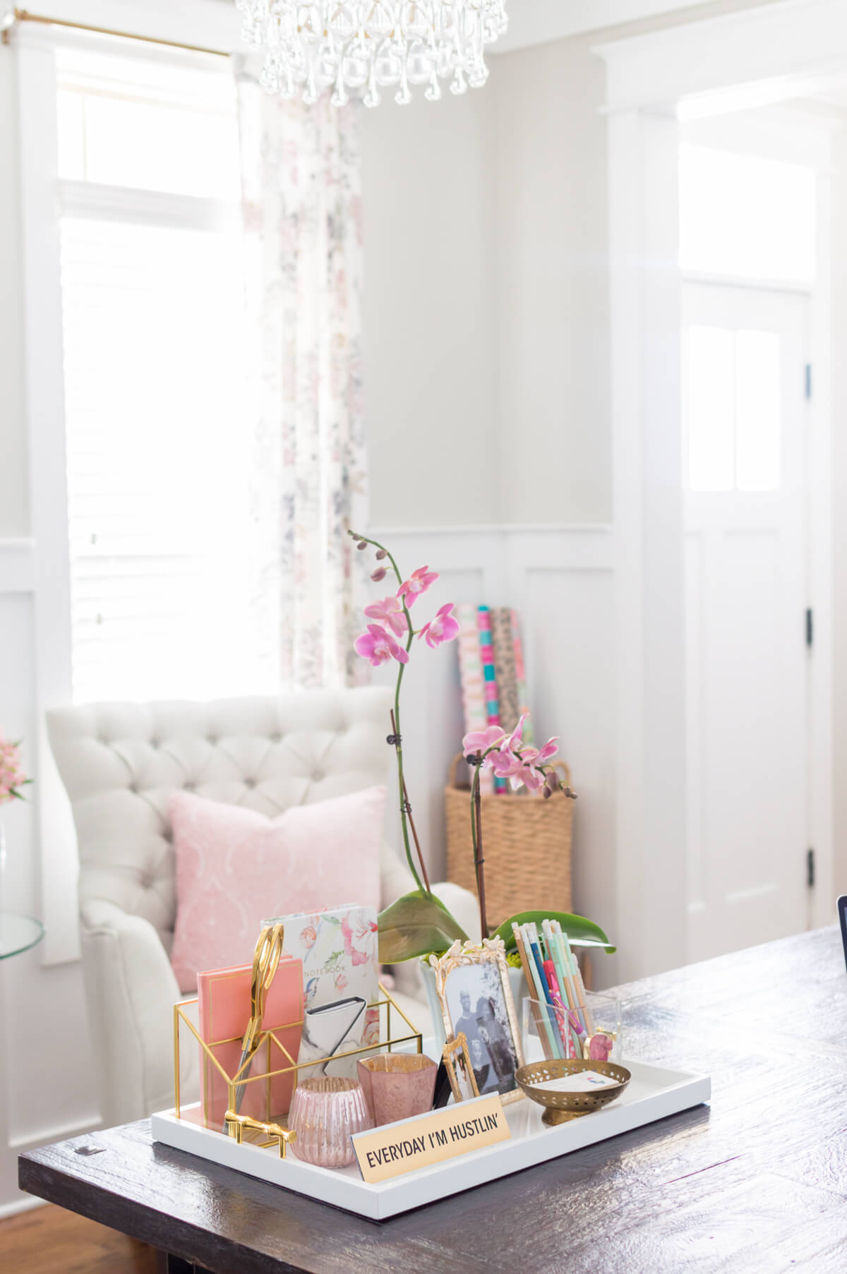 Chic And Girly Home Office With Farmhouse Trestle Table DIY Gold Chandelier Tufted Arm