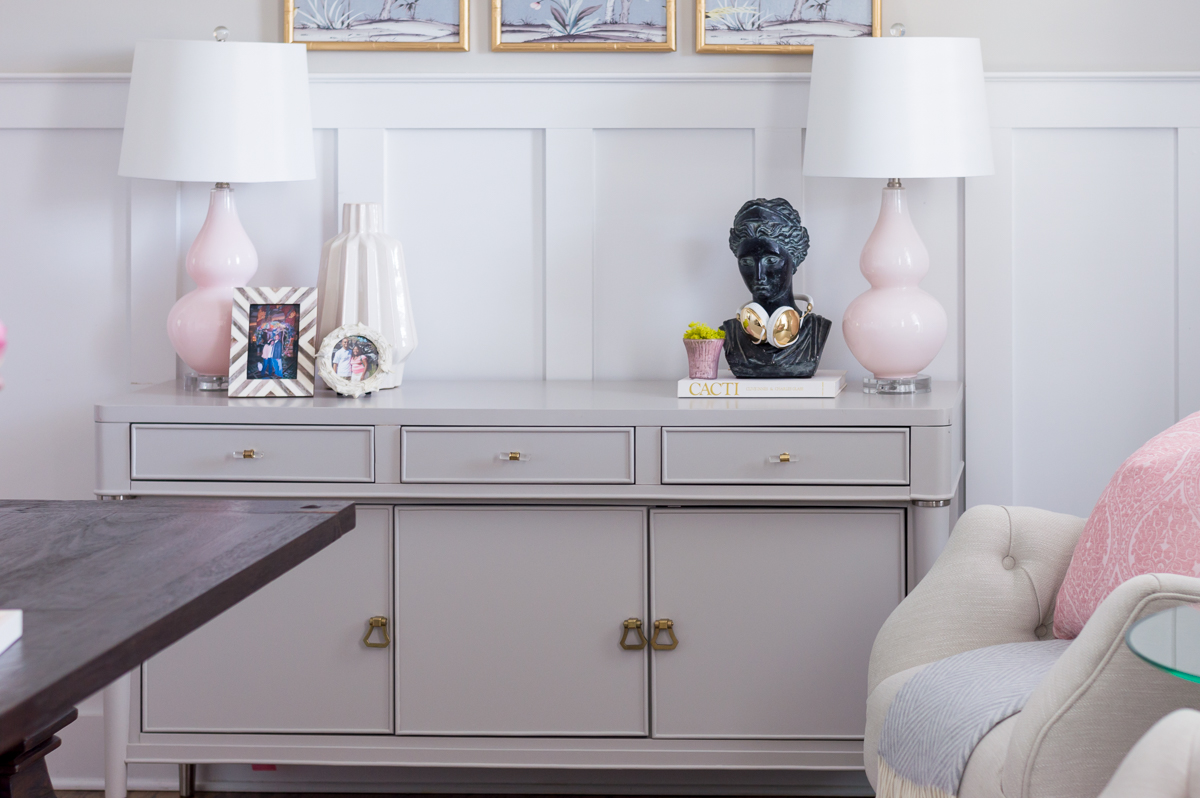 Chic and girly home office gray sideboard, pink lamps, DIY Gold chandelier, desk styling.