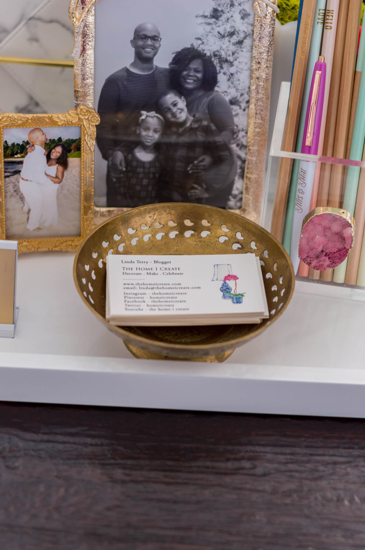 Chic and feminine home office, desk styling, blogger business cards