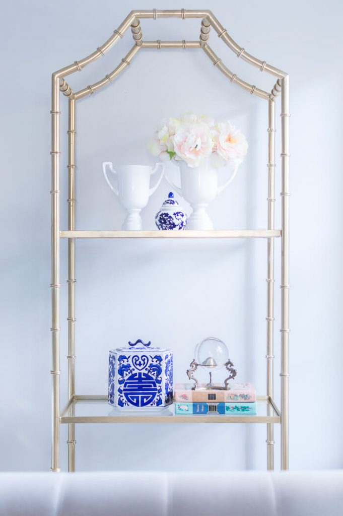 Gold faux bamboo shelf