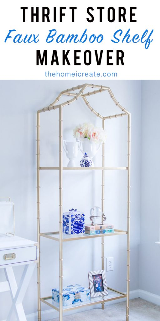 Thrifted gold faux bamboo shelf makeover #thehomeicreate