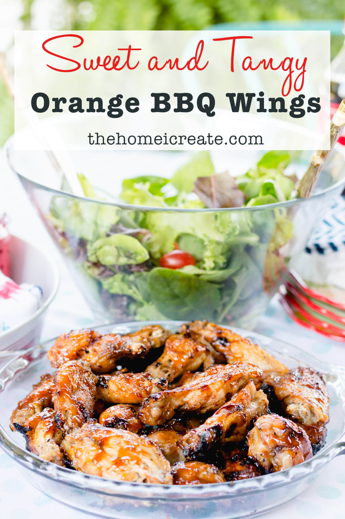 Sweet and Tangy Orange BBQ Chicken Wings | thehomeicreate.com