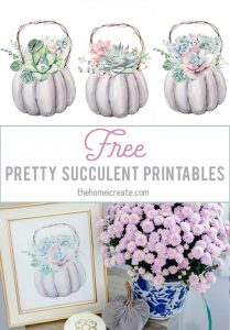 Free pretty cute succulent printables. Easy to print at home to create inexpensive wall art! #thehomeicreate #printables #freeprintables #wallart #