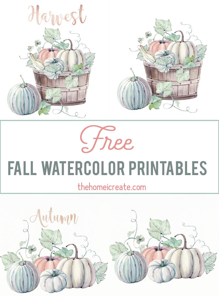 Free cute fall watercolor printables. Easy to print at home to create inexpensive wall art! #thehomeicreate #printables #freeprintables #wallartntables #wallart #