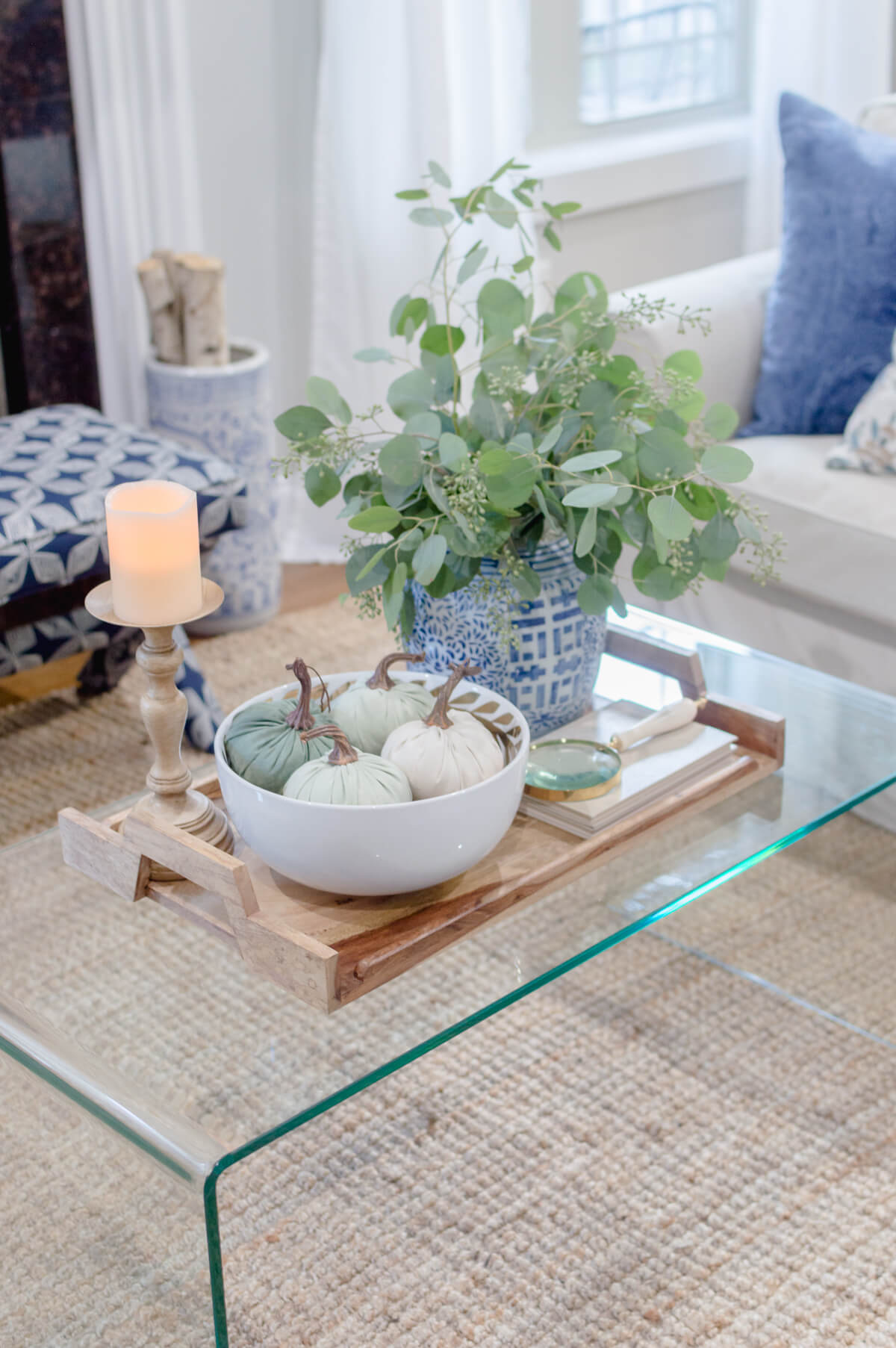 Lucite Coffee Table Fall Styling