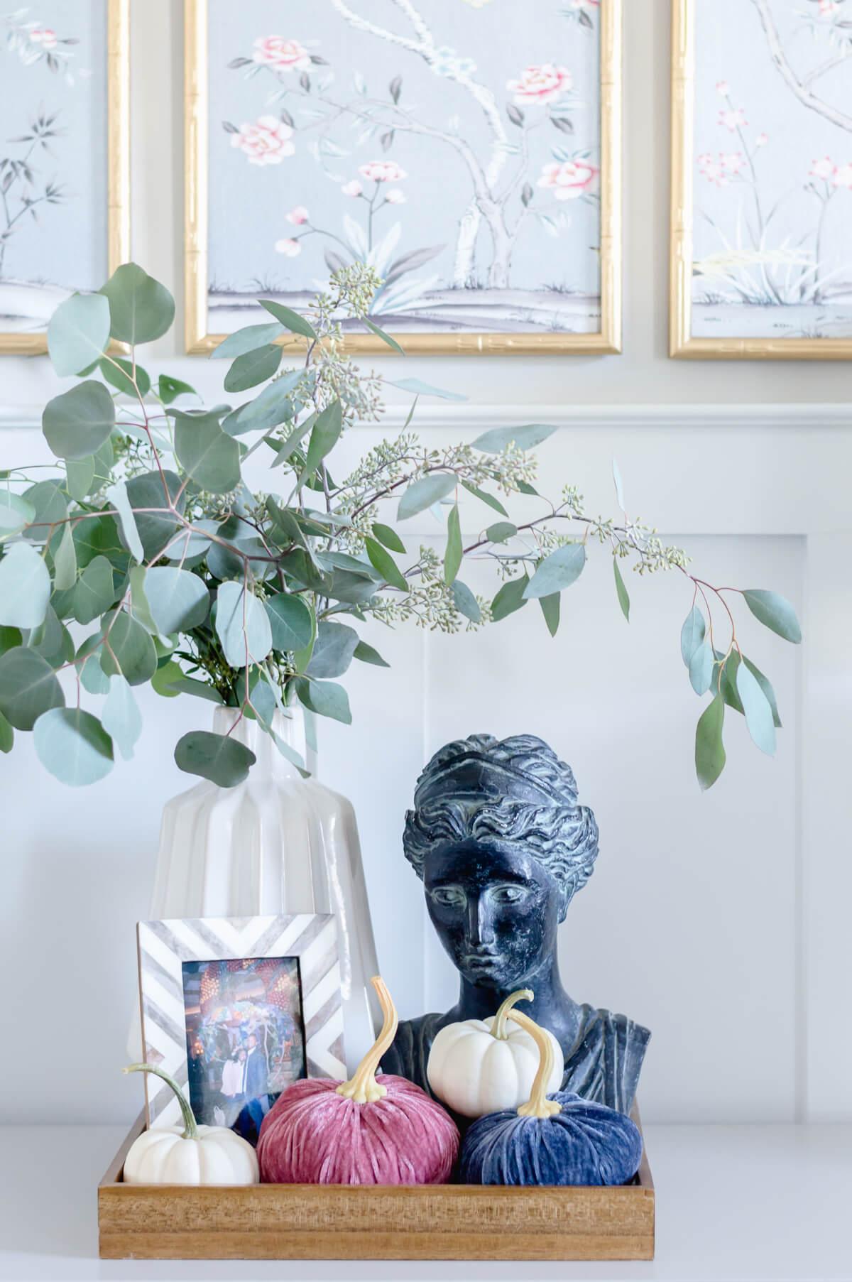 Velvet pumpkins fall vignette | the home i create