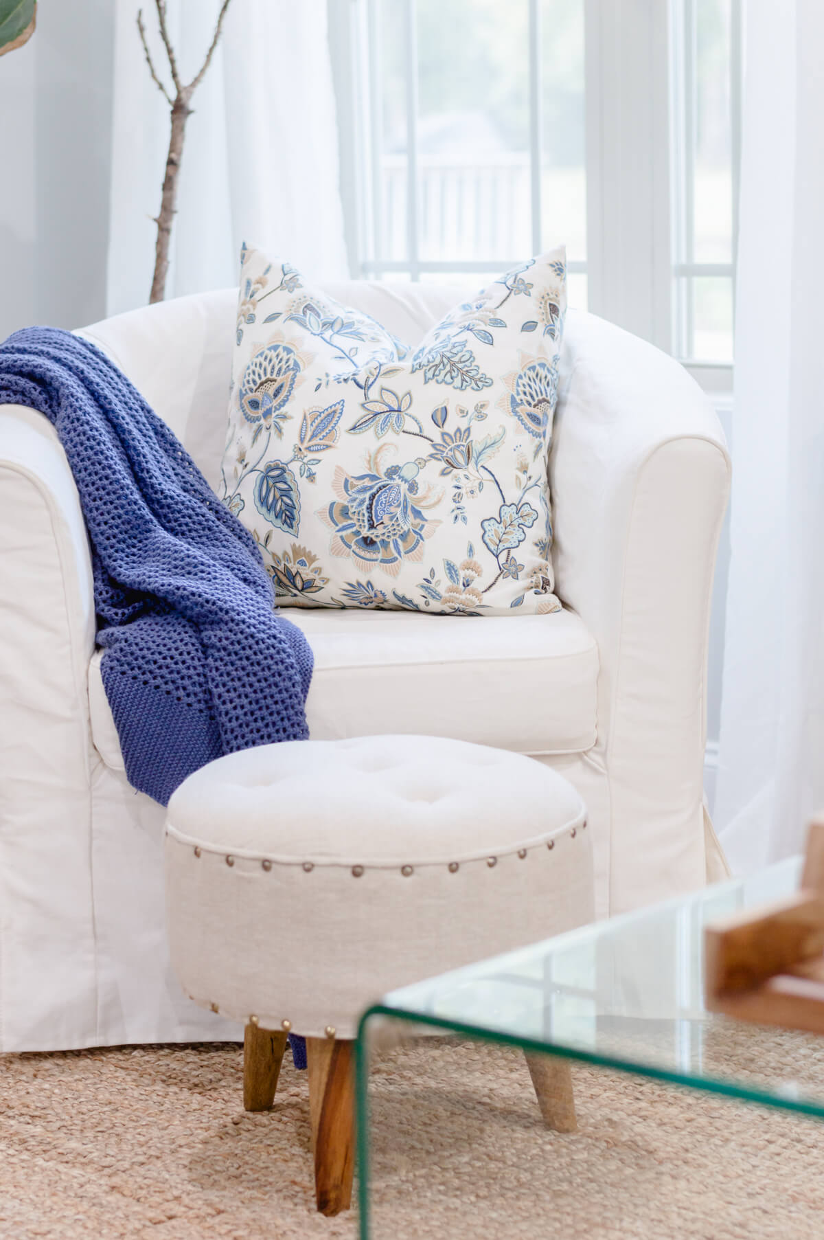 White slipcovered Ikea Armchair | the home i create