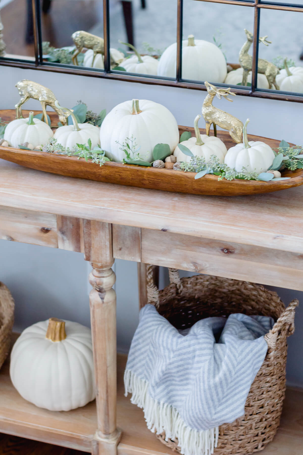 neutral fall decor white pumpkins | the home i create