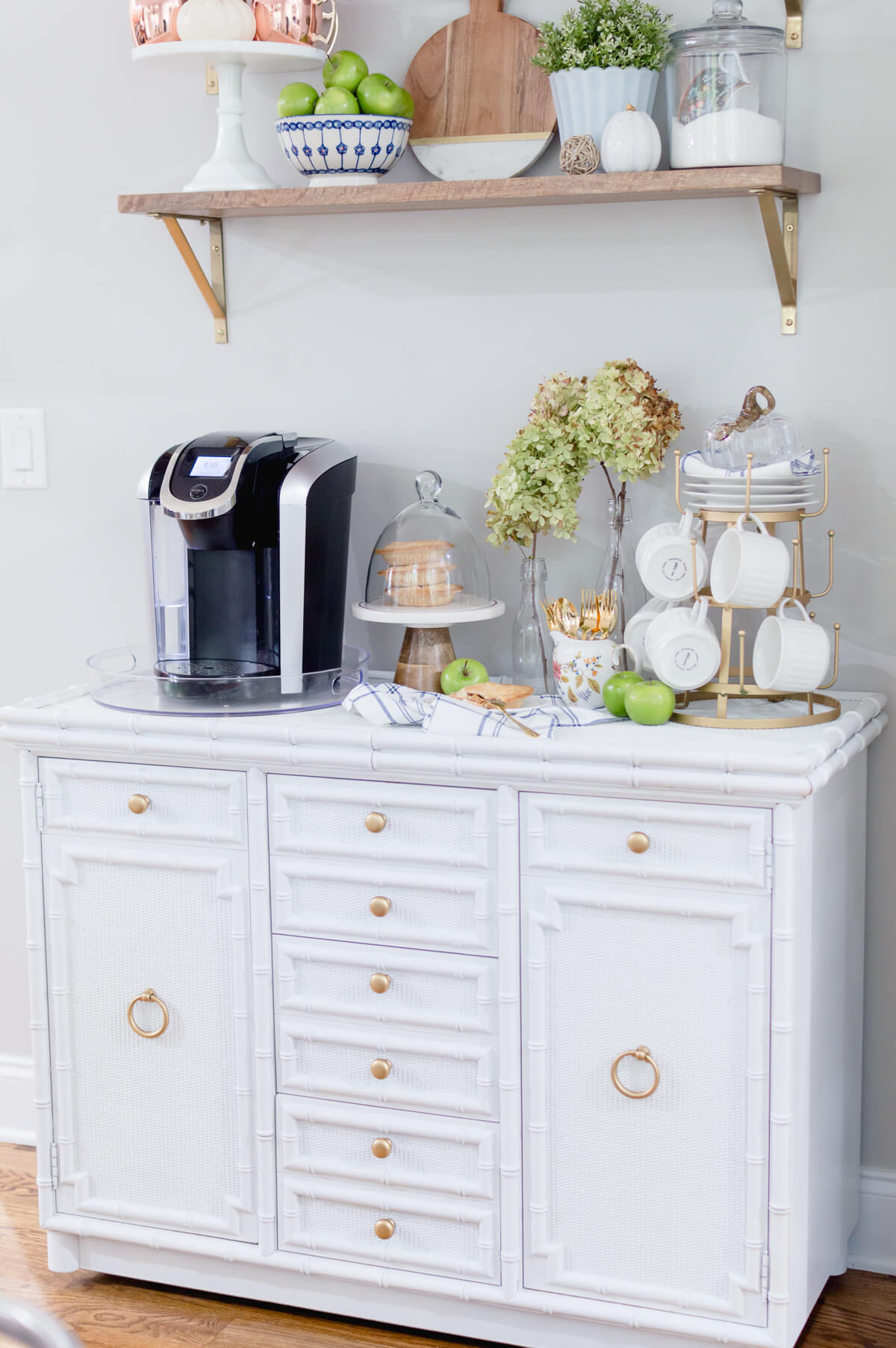DIY Coffee Bar with gold accents