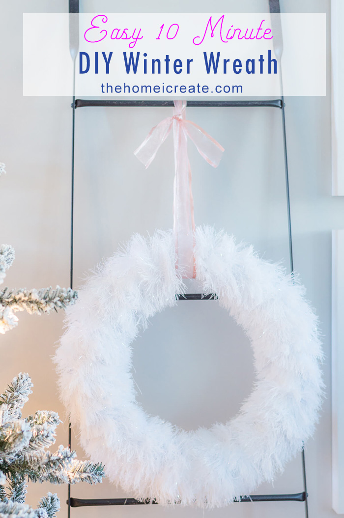 Make this beautiful 10 minute DIY winter wreath with using only 3 supplies! Easy to understand video tutorial! #thehomeicreate # holidaycraft #christmascraft #christmasdiy #wreathtutorial