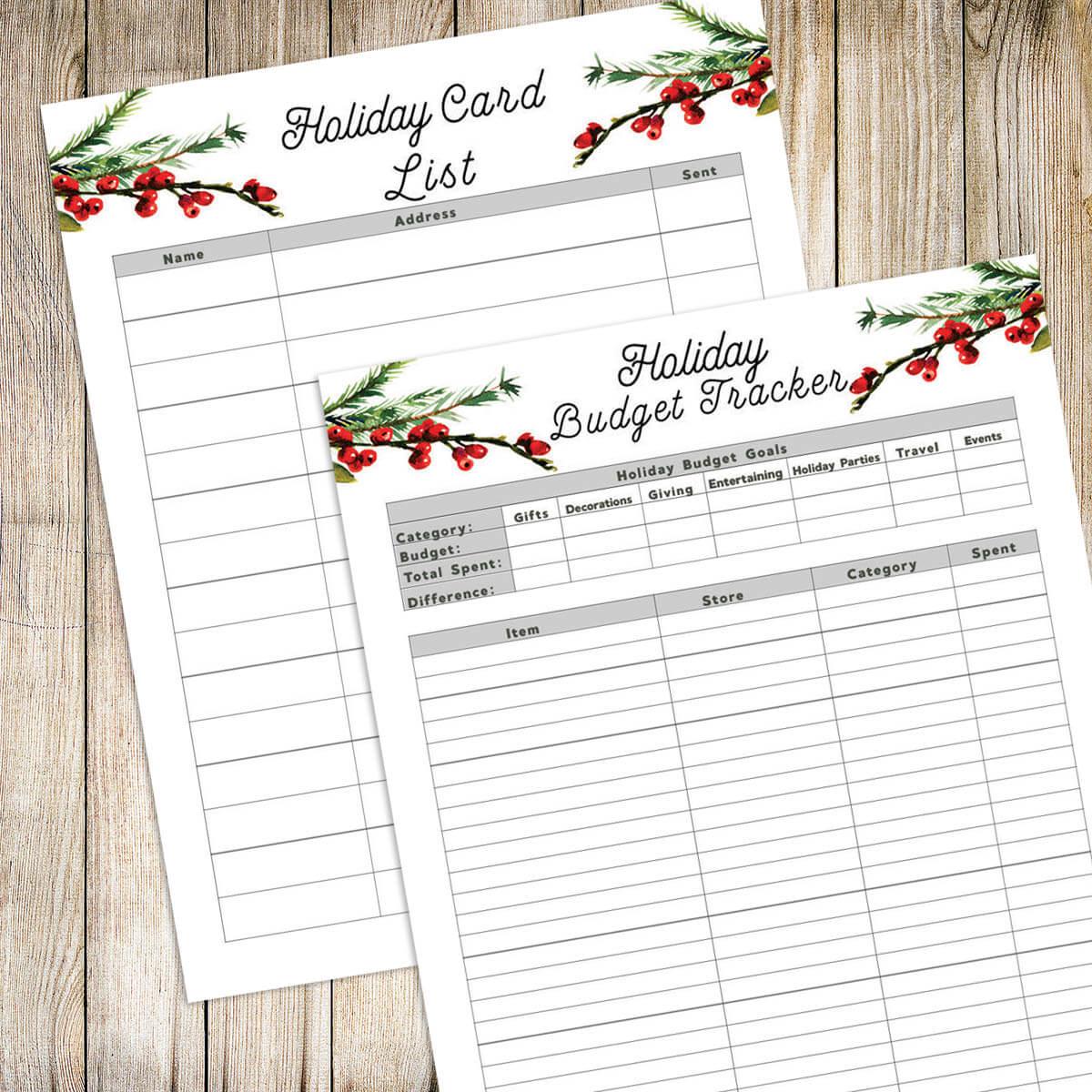 free printable christmas card list