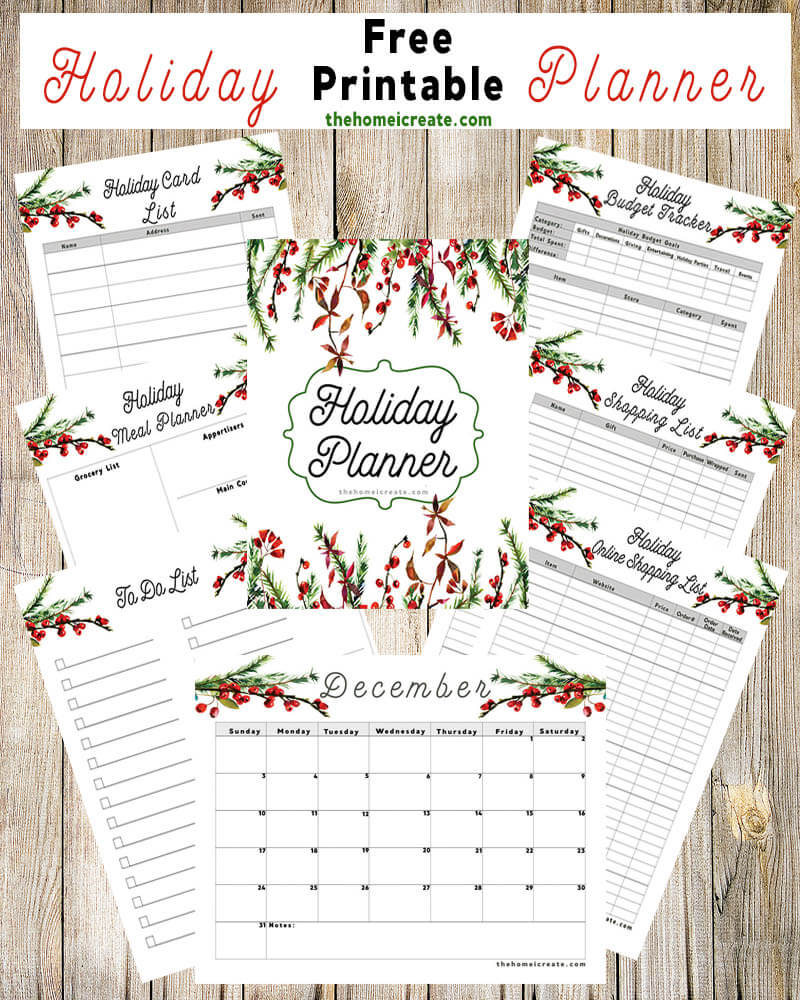 2017 Free Printable Holiday Planner