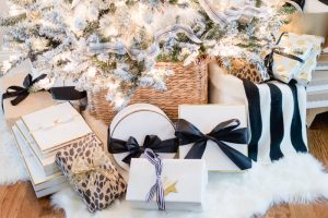 Black and white Christmas gift wrapping