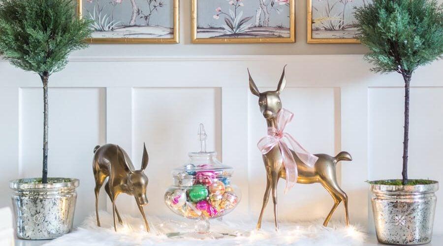 Brass Deer and Vintage Ornaments