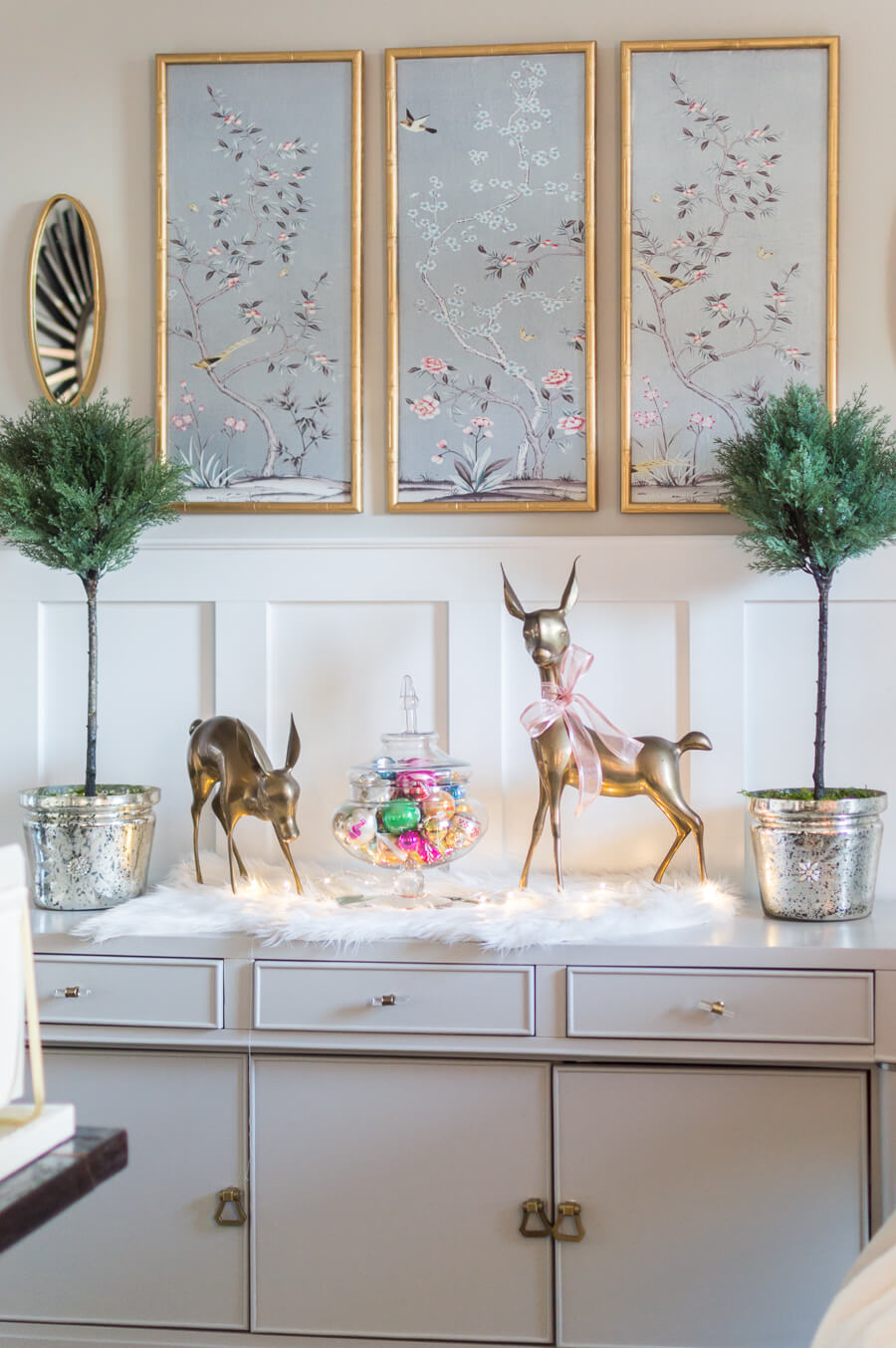Brass Deer and Vintage Ornaments
