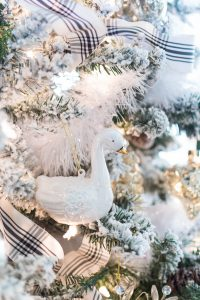 Glass Swan Christmas Ornament