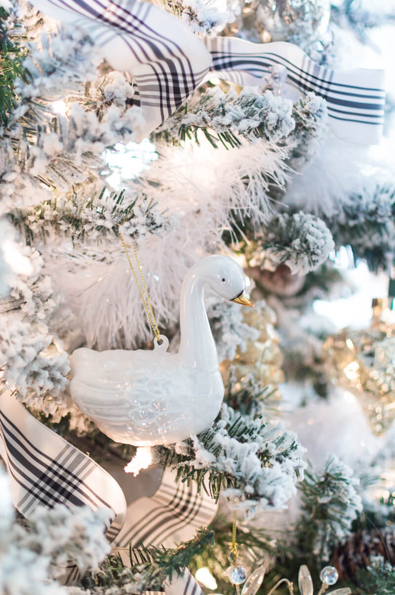 Glass Swan Christmas Ornament