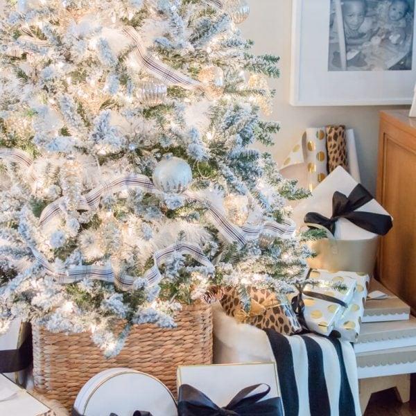 Mercury Glass Flocked Christmas Tree