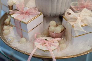 Pink white and gold Christmas presents
