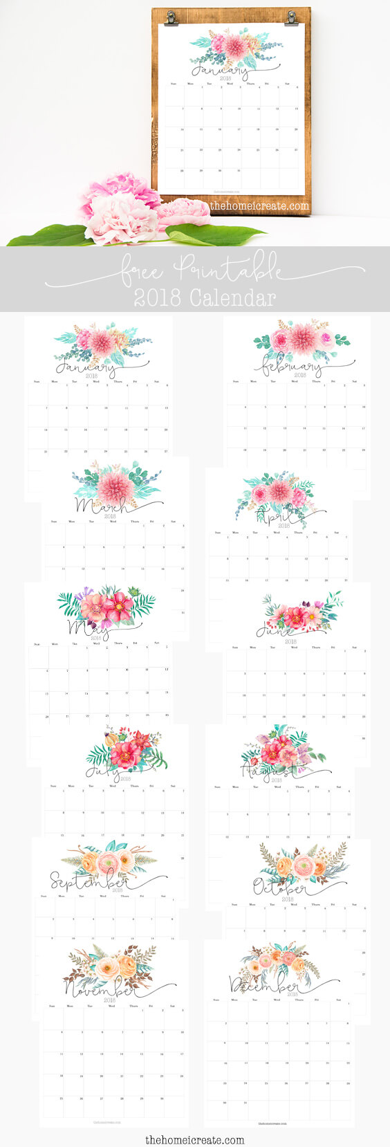 Free 2018 monthly printable calendar | thehomeicreate.com