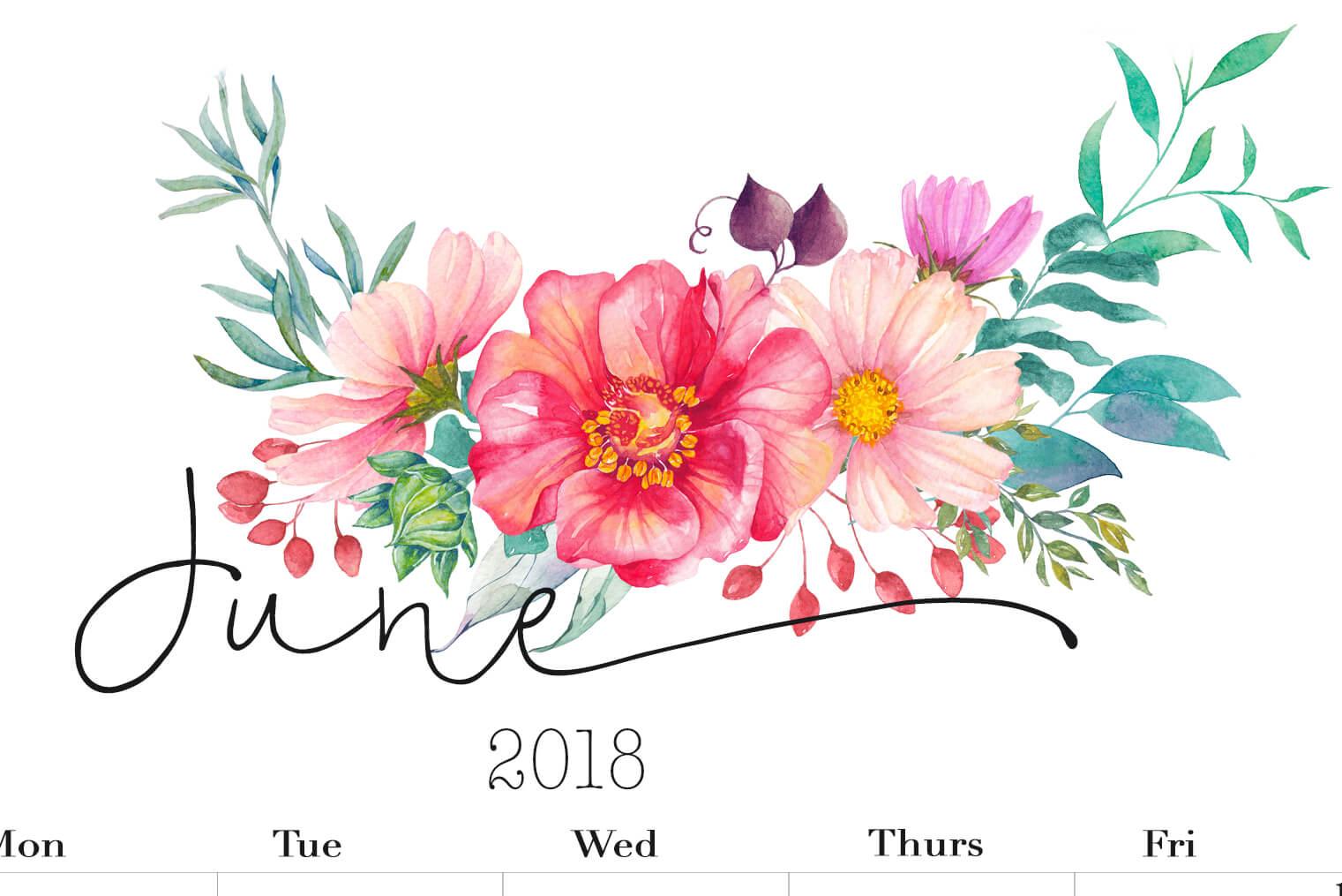 Details June 2018 calendar